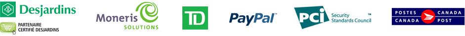 Desjardins, Moneris, PayPal